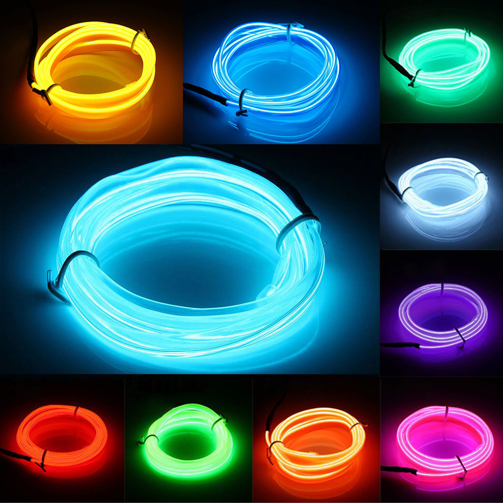 White 300CM Flexible Neon Light EL Wire Rope Tube with Controller ...