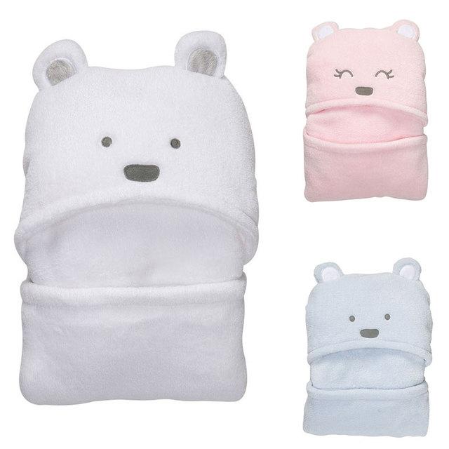 Bonito Do Urso Do Bebê Com Capuz Roupão de Banho Macia Toalha Cobertor Envoltório Bebê Recém-nascido