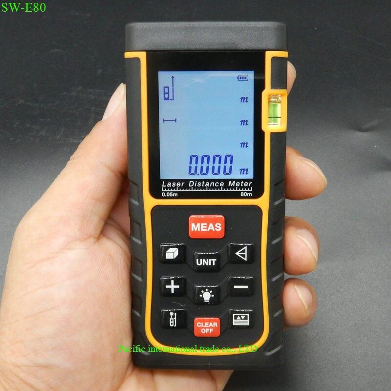 ФОТО SW-E80 Laser Range Finder 80M 262ft LCD Display Laser Distance Meter Digital Range Finder Laser Tape Measurer