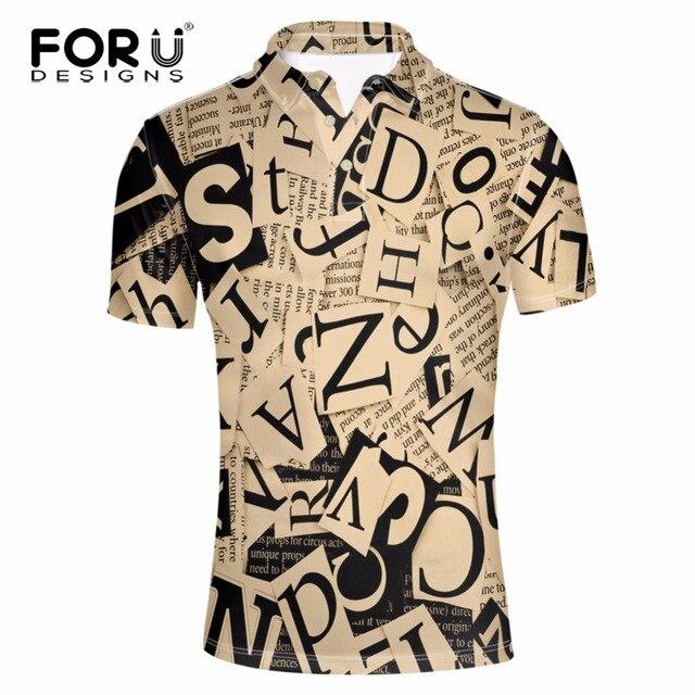 FORUDESIGNS 2017 Новое Прибытие 3D Письма Печати Polo для Мужчин Высшим Дизайн Рубашки Мужчины Марка Одежды Платье Polo Дышащий Рубашки