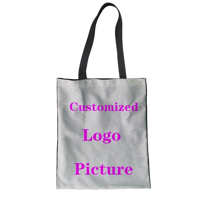FORUDESIGNS Customized Logo Pattern Shopping Bag Women Female Shoulder Bags for Girls Large Linen Tote Bag Canvas Handbag Ladies tote bag