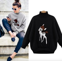 2016 NEW Fashion Europe USA Women S Spring Turtleneck Long Sleeved Baby Deer Print Add Soft