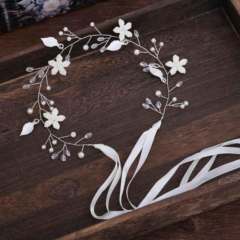 Женская повязка для волос, свадебная, ручная работа, цветочный лист, элегантный свадебный головной убор невесты, аксессуары, украшение, модный ремешок из жемчуга вечерние, Новинка
