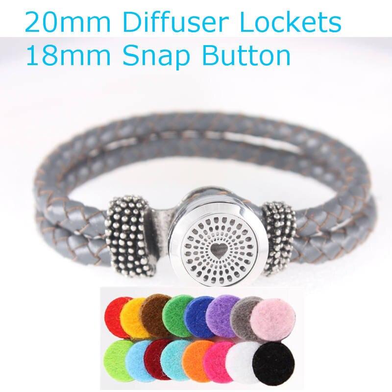 2017 Unisex Vintage Magnet Love Heart Stainless Steel Diffuser Locket Leather Bracelet 18mm Snap Button Bracelet Christmas Gift
