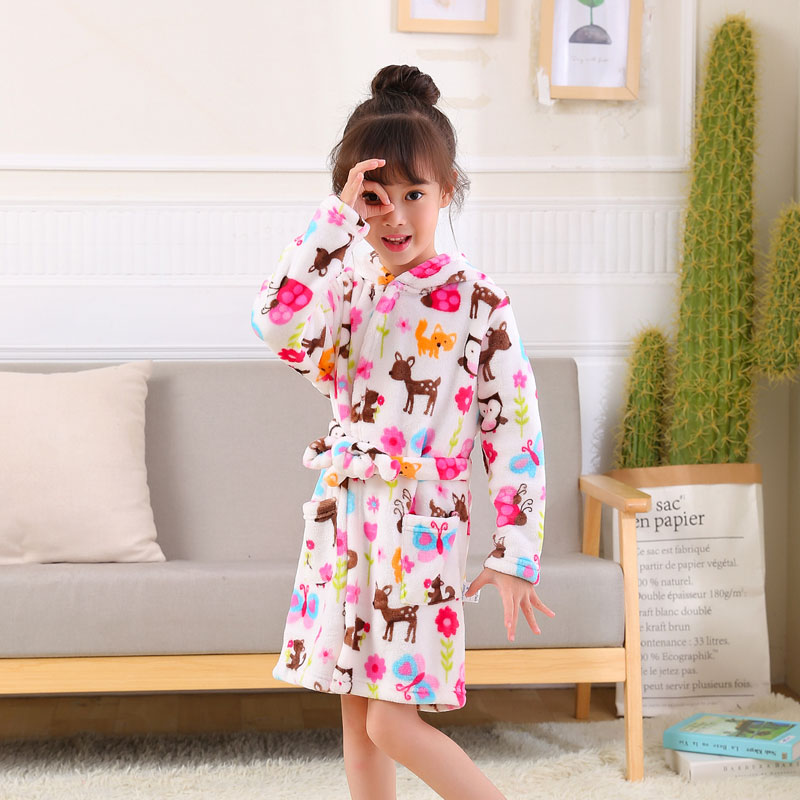 Fashion Children Robes Flannel Print Boys Girls Gown Long Sleeve Hooded Bath Robes Cute Baby Boy Girl Bathrobe Children Clothing