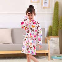 Fashion Children Robes Flannel Print Boys Girls Gown Long Sleeve Hooded Bath Robes Cute Baby Boy Girl Bathrobe Children Clothing