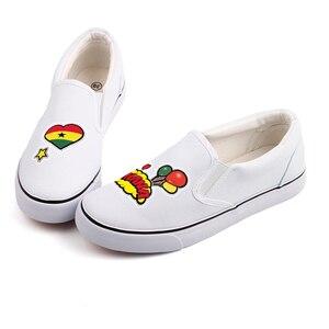 Image 5 - E LOV クリエイティブポップアートアフリカ国ガーナ旗カスタマイズキャンバスシューズデザイナー Ghanaian プラットフォーム靴 Chaussures ファム