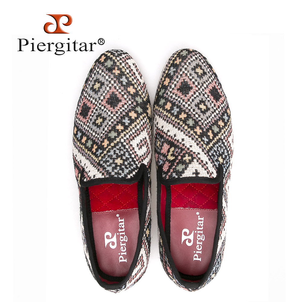 Piergitar new Mixed colors men loafers Ethnic style lattice men casual shoes Party smoking slipper men's flat size US 4-17 piergitar new style leopard pattern special fabrics handmade men loafers fashion men casual shoes british style smoking slipper