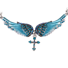 Angel wing cross necklace women biker jewelry gifts