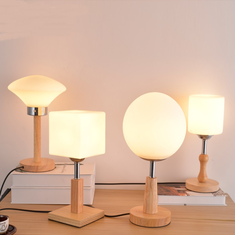 modern wood+glass table lamsp  Hotel room decoration  living room study room bedroom bedside desk lamps ZA928106 tuda glass shell table lamps creative fashion simple desk lamp hotel room living room study bedroom bedside lamp indoor lighting