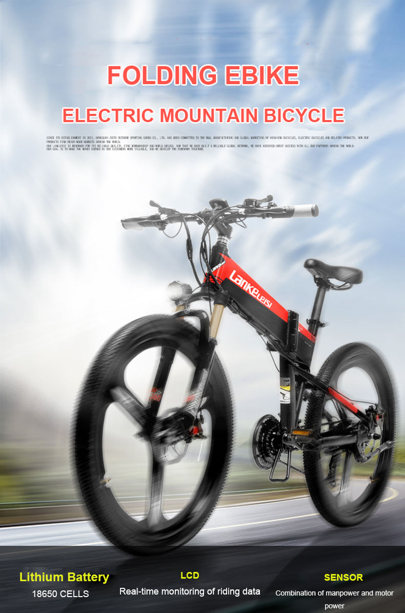 HTB1sKzlXIrrK1Rjy1zeq6xalFXaW - 26inch electric mountian bicycle folding  frame 48V  lithium battery hidden frame 400w high speed motor range 60-100km
