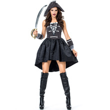 Umorden Womens 3 Piece Captain Black Heart Pirate Costume Fancy Dress Halloween Carnival Purim New Year Party Cosplay Costumes