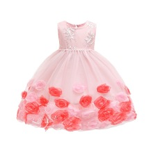 Children Wedding party Kids Dresses for girls Open back Rose Flower baby Girls Clothes Christmas Party Dress