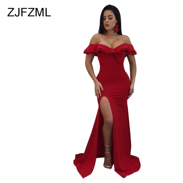 8dbc607372d ZJFZML Evening Party Dresses Women Sexy Off Shoulder Maxi Dress Black Red  Blue Summer Boydcon High
