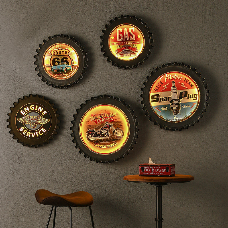 Iron Gear With LED Light Novelty Remote Control Vintage Gear Hanging Restaurant Cafe Shop Decor Home Living Room Wall Decoration