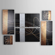 Free Shipping,100% handmade oil paintings abstract on canvas 6 piece/set  Black gold silver wall art