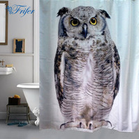 Wholesale Cute Owl Bathroom Sheer Waterproof EVA Shower Bath Curtain With hooks Polyester Fabrics Shower Curtains For Home Decor