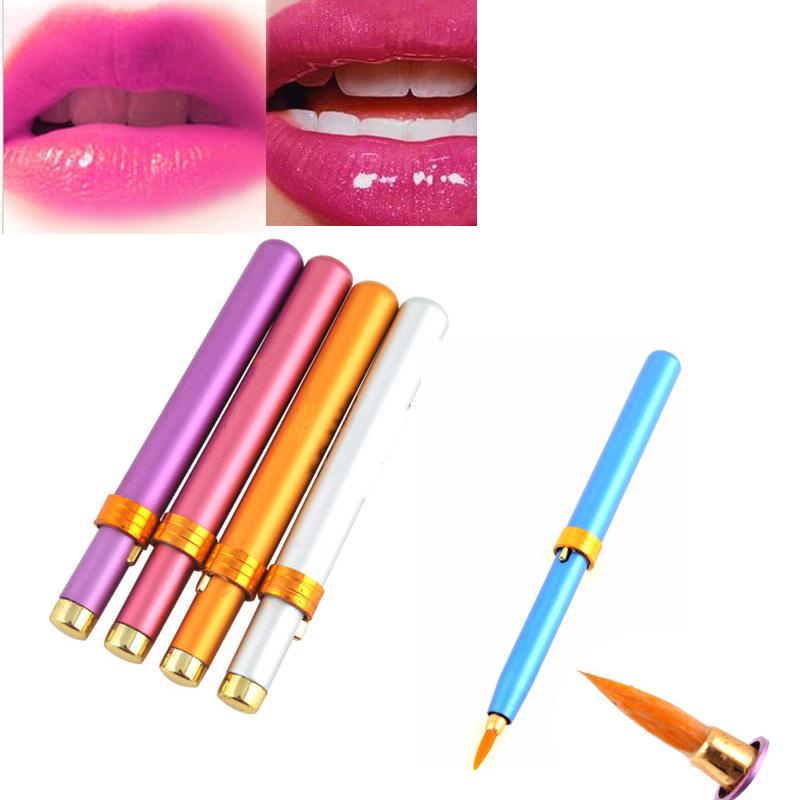 1 шт. мини металла портативный выдвижной косметические кисть для губ кисть карандаш лайнер для губ красоты инструмент для женщин разные цвета #4333