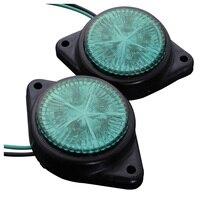 10Pcs Round Side Marker LED Light Indicator Lamp For Van Car Truck Trailer 12V Green