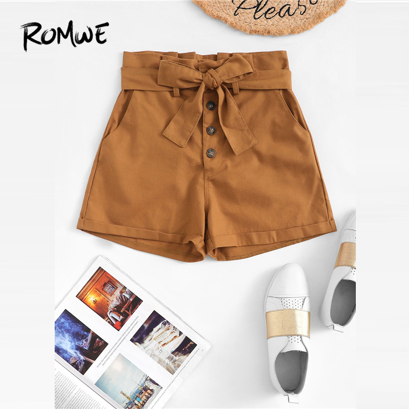 ROMWE Single Breasted Belted   Shorts   Women Pockets Button Fly   Shorts   2019 Fashion Camel Mid Waist Summer Straight Leg   Shorts