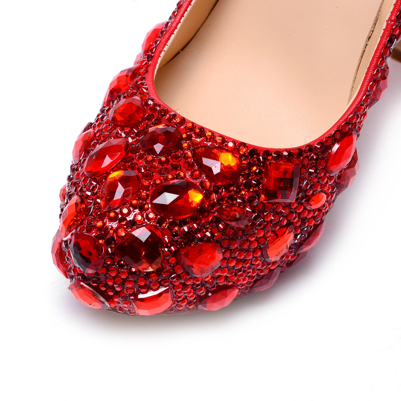 Col Di Piattaforma Rosso scarpe Delle Pattini Sexy A Tacco Super Impermeabili Autunno Pompe Scarpe Superficiale Donne Alto Da Della Sposa Femminile Rotonda Nuovo Cristallo Punta Vetro B5XXOxqnYf