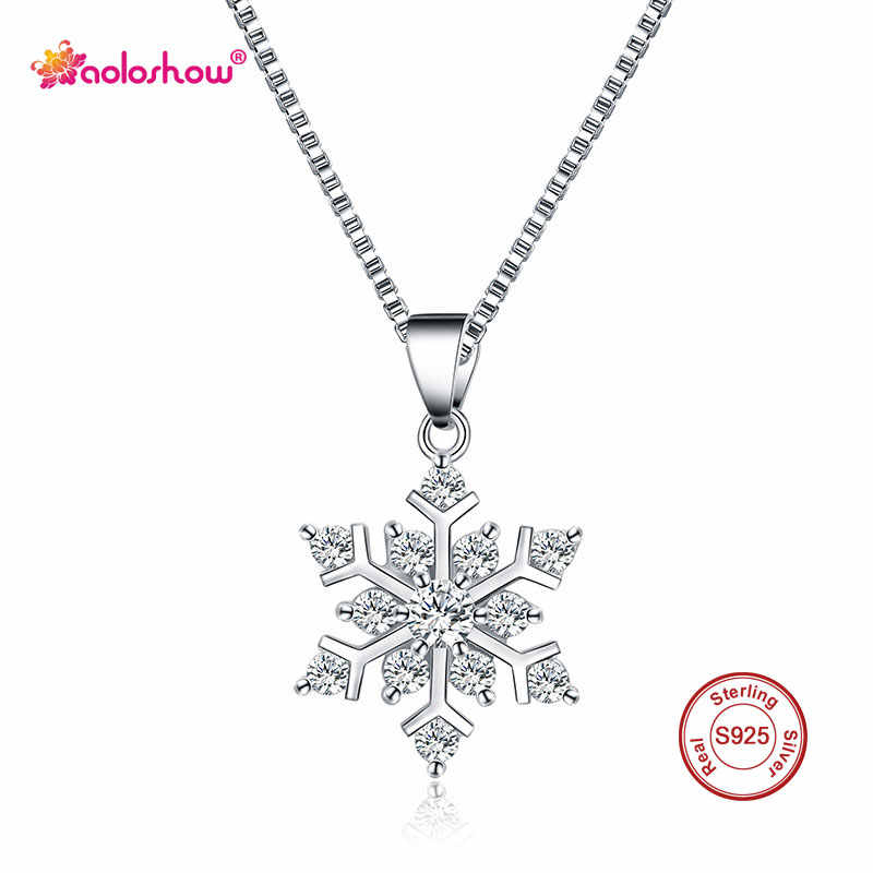 AOLOSHOW Elegant Snowflake Necklace for Women 925 Sterling Silver Heart & Arrow Crystal Pendant Christmas Necklace Collier Femme