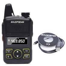 Originale Baofeng BF T1 Mini Walkie Talkie UHF 400 470mhz Radio Portatile A Due Vie Ricetrasmettitore Radio di Prosciutto Micro USB interphone + cavo