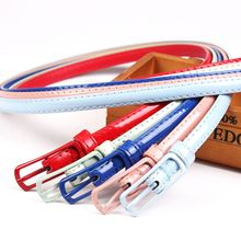 Fashion Lady Girl Colorful Patent Leather Simple Solid Waist Belt Clothing Accessories Candy Color Skinny Thin Narrow Waistband