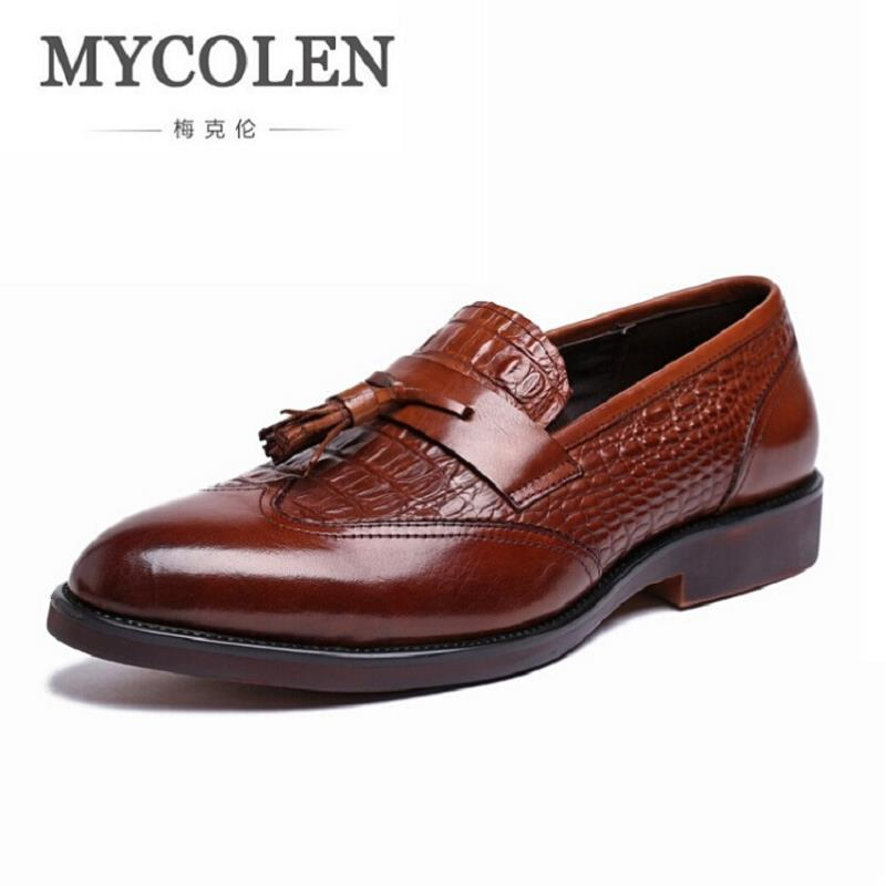 MYCOLEN Men Oxford Shoes Slip On Business Men Shoes Brand Wedding Shoes Dress Formal Men Loafer Crocodile Pattern Moccasin fashion genuine leather men oxford shoes slip on casual office formal business men shoes brand men wedding shoes men dress shoes