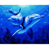 Dolphins Water 40x50cm Picture Paint On Canvas Diy Digital Oil Painting By Numbers Home Decoration Craft