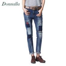 Medio Cintura Jeans Mujer Jeans Rasgados Pantalones de Mezclilla Pantalones Casuales de La Moda de Impresión Pantalones Lápiz Pantalones Para Mujeres Novio 2016