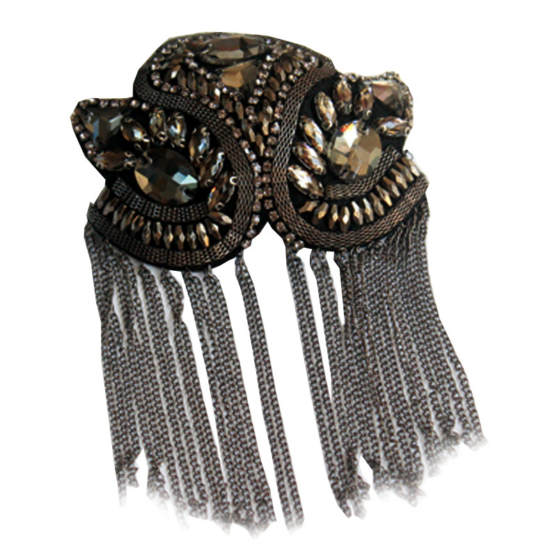 Exquisite Manual Dingzhu Flower Rhinestones Bead Diamond Punk Wind Coat Suit Brooch Tassel Badge Epaulets Shoulder Patches