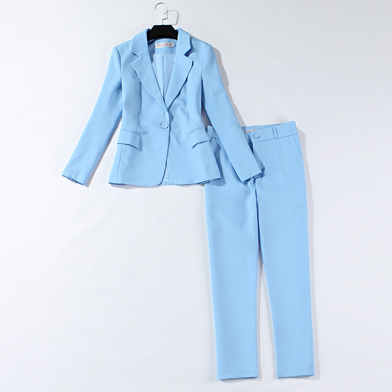 Women's Suits 2019 Autumn New Fashion Professional Slim Long-sleeved Light Blue Small Suit Jacket Casual Nine Pants