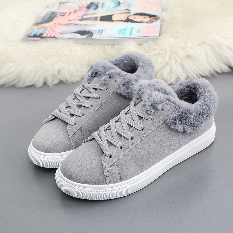 Women Flats For Winter Plush Warm Shoes Casual Flat Heels Lace Up Ladies Shoes Size 35-40 Black Gay Pink Fashion Fur Shoes NX5 (21)