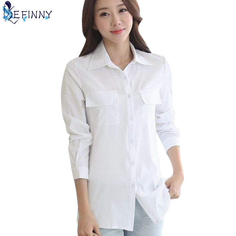 1bd7c1f7780f7b EFINNY Women Long White Blouse Korean Style Female Solid Elegant Blusas Ladies  Office Long Sleeve Blouses Shirt