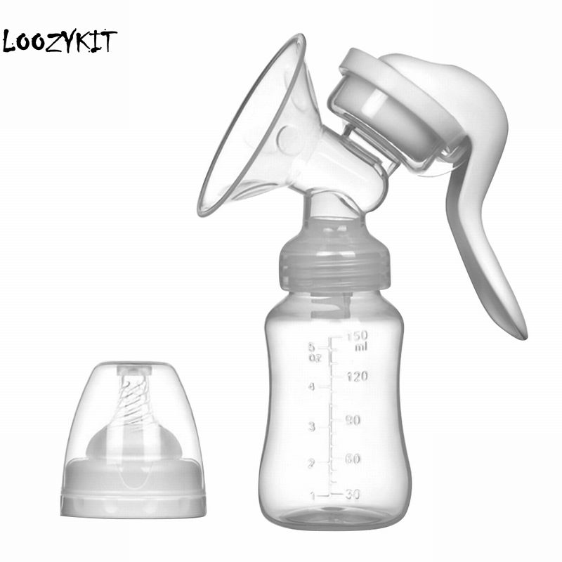 Loozykit Manual Breast Pump Powerful Baby Nipple Suction 150ml Feeding Milk Bottles Breasts Pumps Bottle Sucking