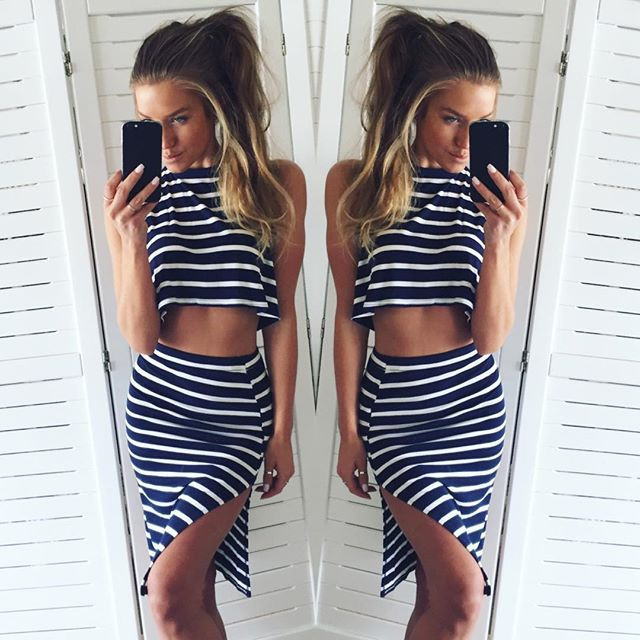 7c37e925cfe7 Hot 2015 new 2 piece set women white black striped slash neck summer dress  mini women two piece outfits robe sexy cute dress