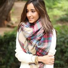 Autumn Winter Style Women Blanket Oversized Tartan Scarf Wrap Shawl Plaid Cozy Checked Pashmina