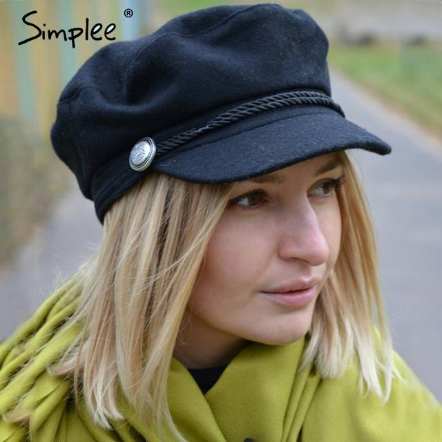 84a43157f Simplee Fashion black hat cap women Casual streetwear rope flat cap Elegant  solid autumn winter warm beret hat female 2017