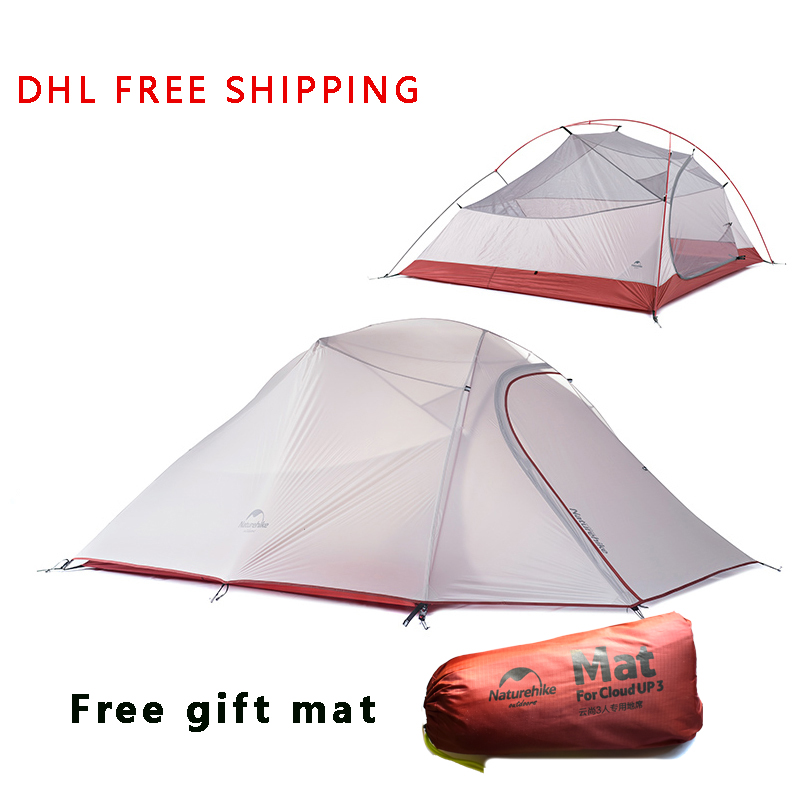 DHL freeshipping Brand NatureHike tent New 1.8kg 3 Person 20D Silicone Fabric Double-layer Camping Tents NH Outdoor Tent naturehike factory store 2 person tent 20d silicone fabric double layer camping tent lightweight only 1 24kg dhl free shipping