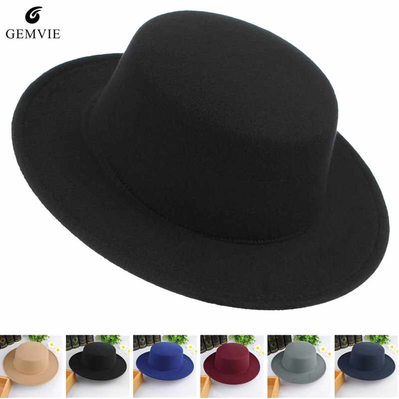 0b77984c5f6 Fashion Solid Color Fedoras for Men Women Wool Blend Jazz Cap Wide Brim  Flat Top Top