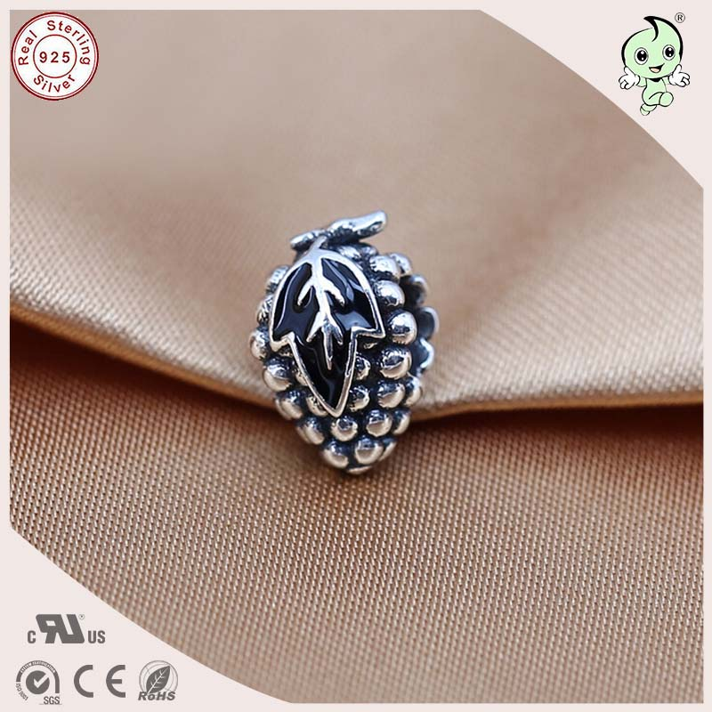 DIY Hot Sale Good Quality Titanium 925 Real Silver Cute Grace Black Enamel Charm Fitting ...