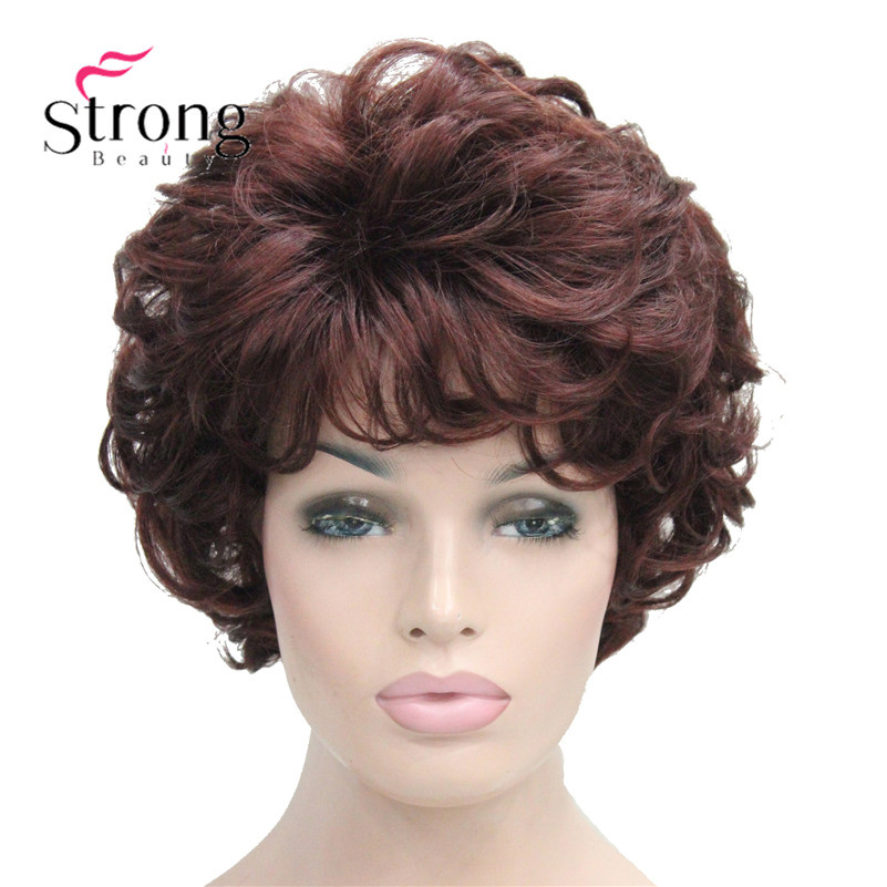 Short Soft Tousled Curls Dark Auburn Full Synthetic Wigs Women's Wig COLOUR CHOICES