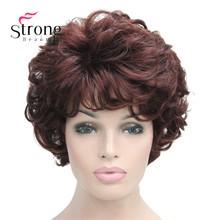 Short Soft Tousled Curls Dark Auburn Full Synthetic Wigs Womens Wig COLOUR CHOICES