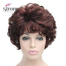 Curto macio tousled cachos escuro auburn completa perucas sintéticas peruca feminina opções de cor