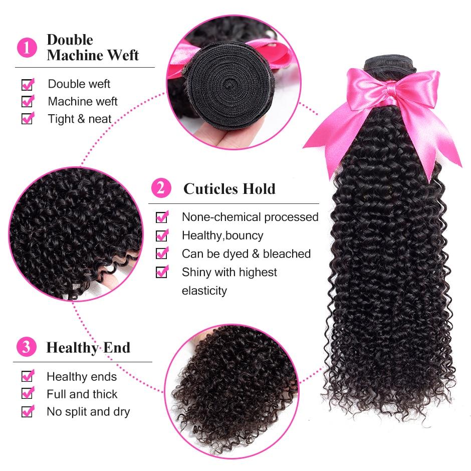 ISEE HAIR Mongolian Kinky Curly Hair Lundy Remy Human Hair Extensions - Մարդու մազերը (սև) - Լուսանկար 3