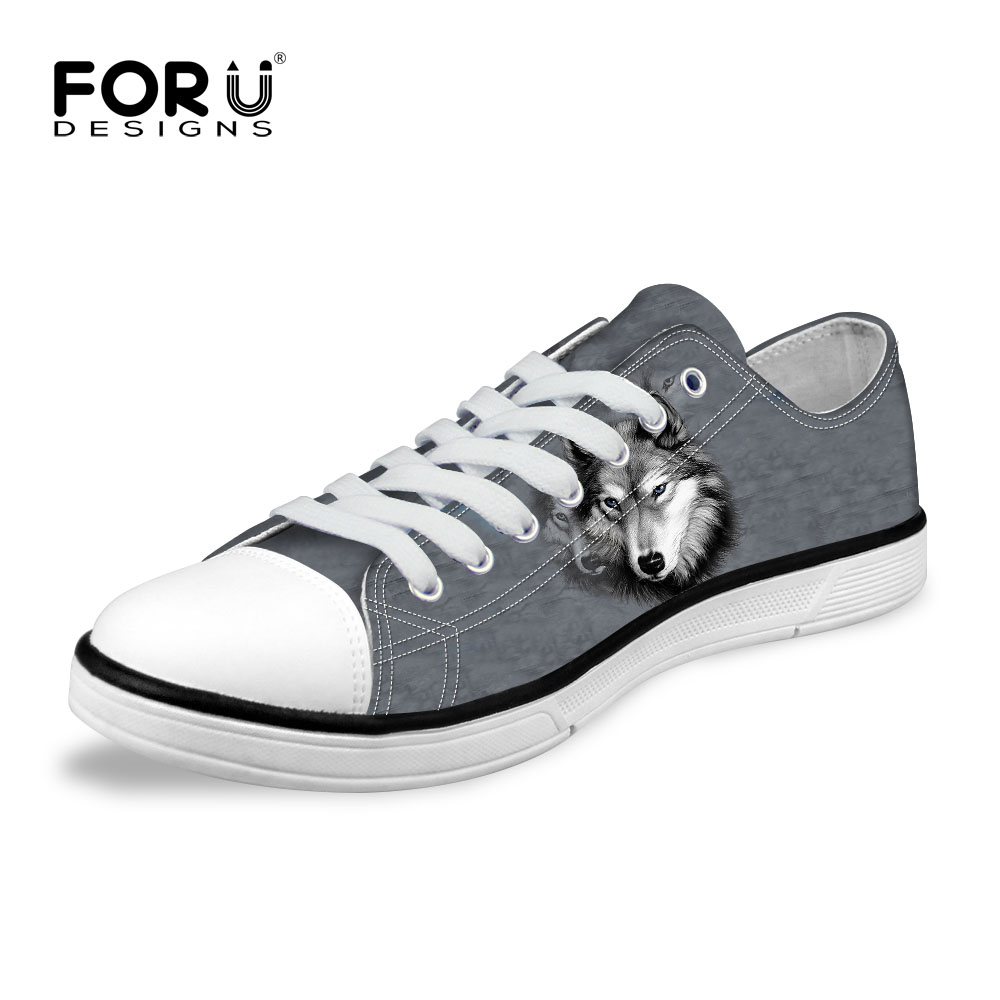 FORUDESIGNS New 2017 Fashion Men's Low Style Vulcanized Shoes 3D Animals Grey Husky Printed Men Canvas Shoes Casual Man Flats женская футболка other 2015 harajuku t tshirt nz0106