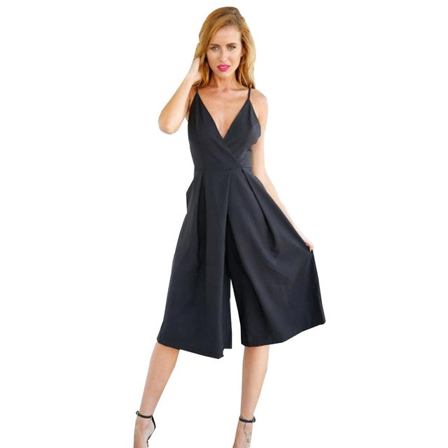 Us 1099 Rompers Womens Black Linen Cotton Jumpsuit Backless Xl Halter Wide Leg Sexy Elegant Jumpsuit Celebrity Summer Plus Size V Neck In Jumpsuits