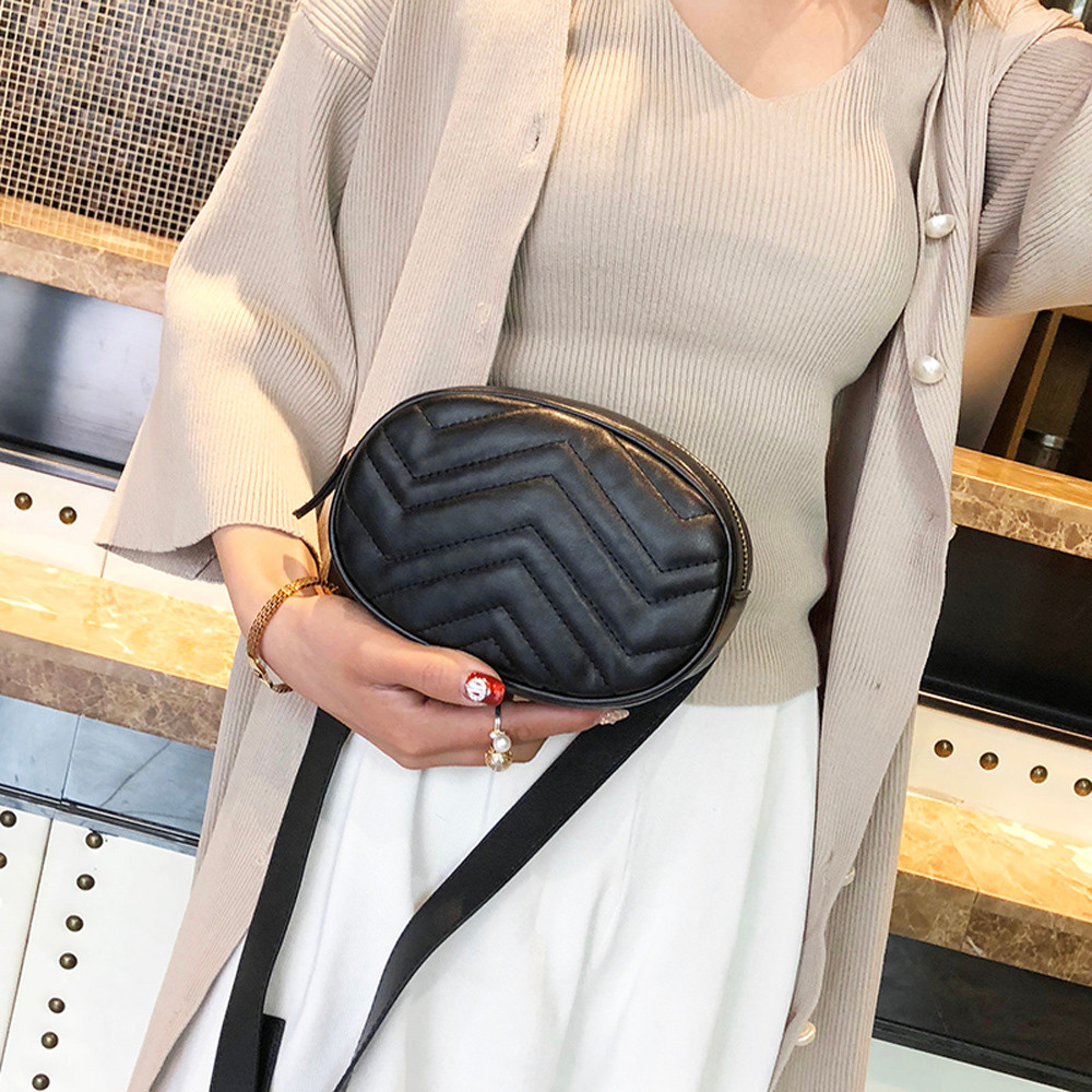 Fashion Women Pure Color Leather Messenger Shoulder Bag Chest Bag Chest Bag Crossbody Flap Versatile Samll Packs Femme Mens #S
