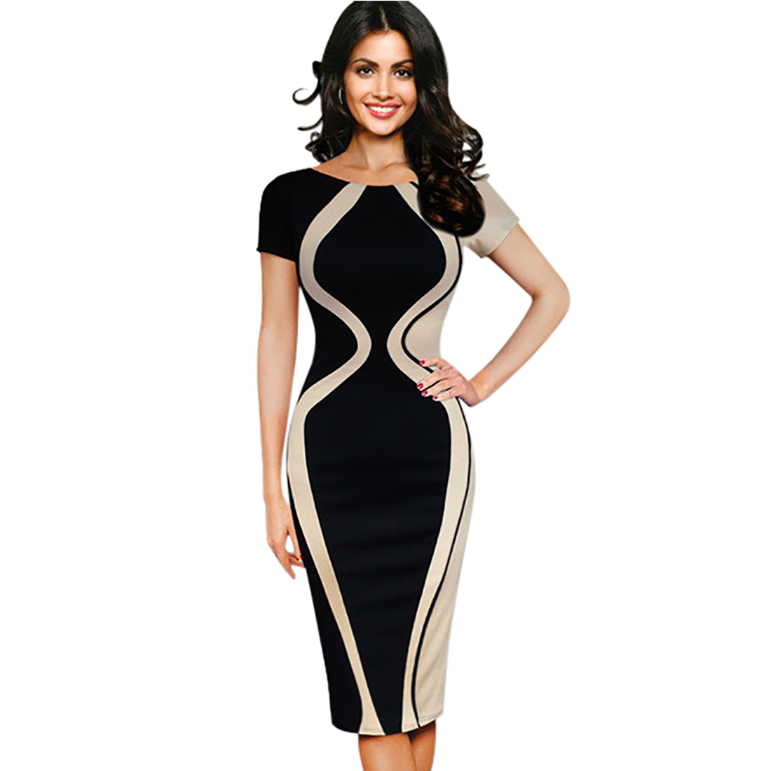 COOL FASHION  FOR WOMEN Oxiuly Womens Elegant Optical Illusion Colorblock Contrast Patchwork O-Neck Bodycon Office Work Casual Office Pencil Slim Dress